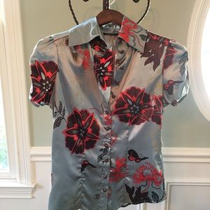 Women's BCBG satin floral blouse